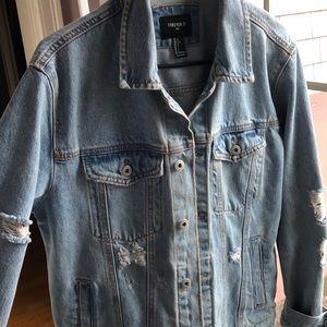 Forever 21 blue ripped denim jacket